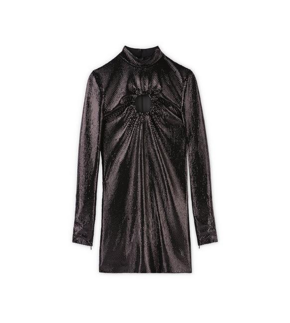 METALLIC EFFECT KEYHOLE SEQUIN MINI DRESS A fullsize