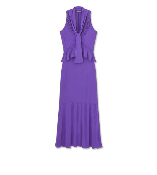 LIGHT STRETCH VISCOSE PEPLUM DRESS WITH SCARF