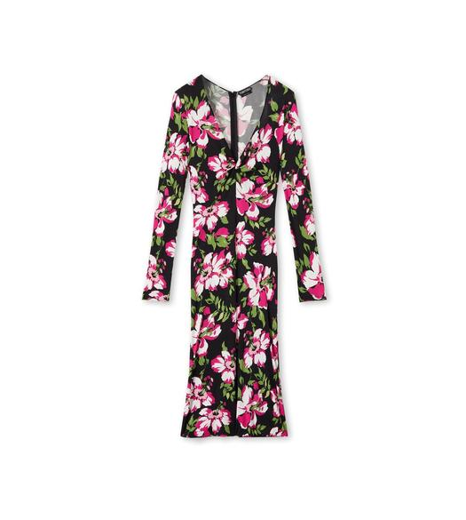 FLORAL CREPE JERSEY MIDI DRESS