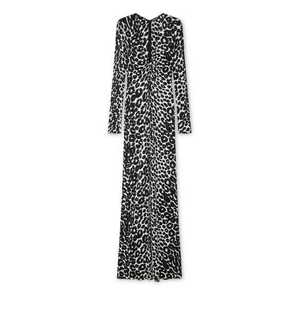 IKAT LEOPARD PRINT V-TWIST DRESS A fullsize