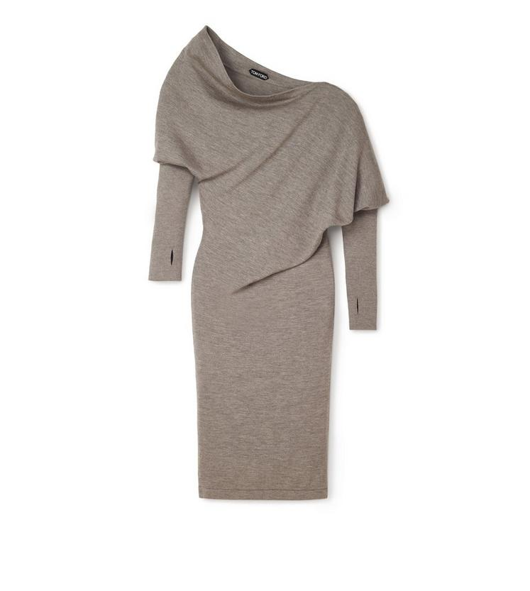 OFF-SHOULDER ASYMMETRIC KNIT DRESS A fullsize