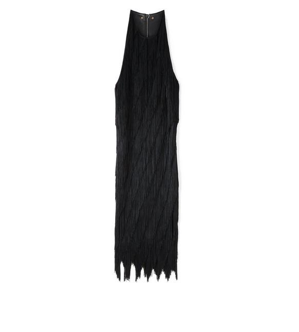 KNEE LENGTH FRINGE TANK DRESS WITH LEATHER DETAIL A fullsize
