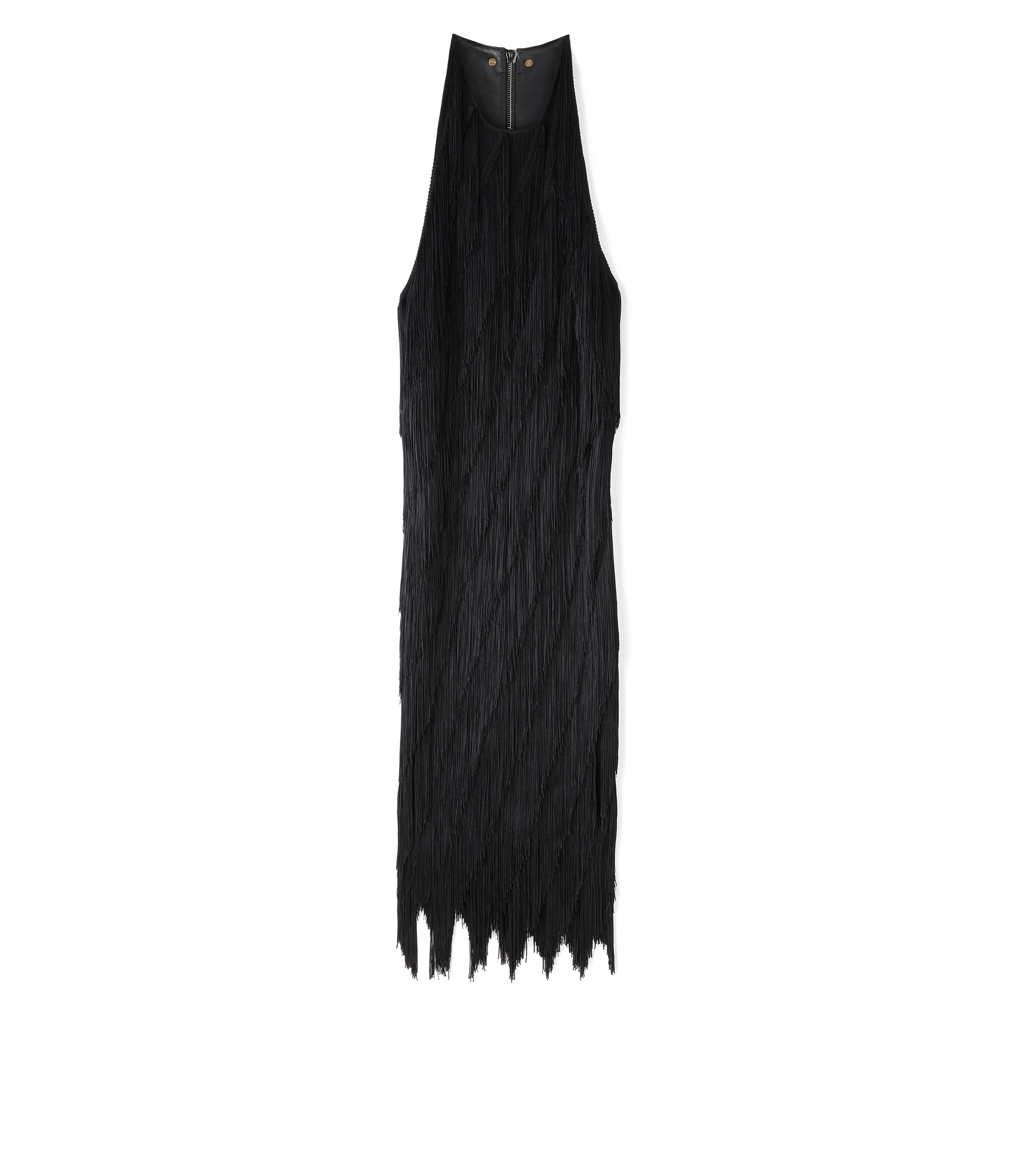 KNEE LENGTH FRINGE TANK DRESS WITH LEATHER DETAIL A thumbnail