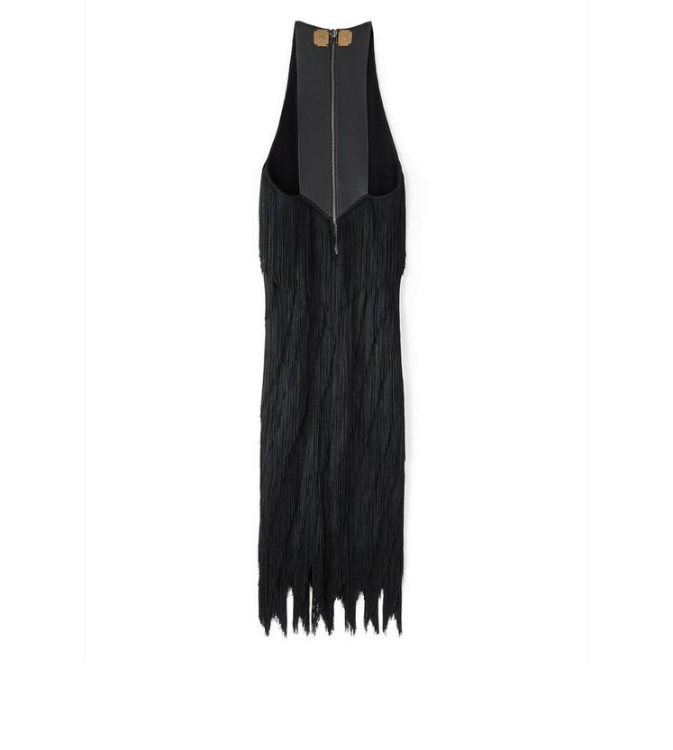KNEE LENGTH FRINGE TANK DRESS WITH LEATHER DETAIL B fullsize