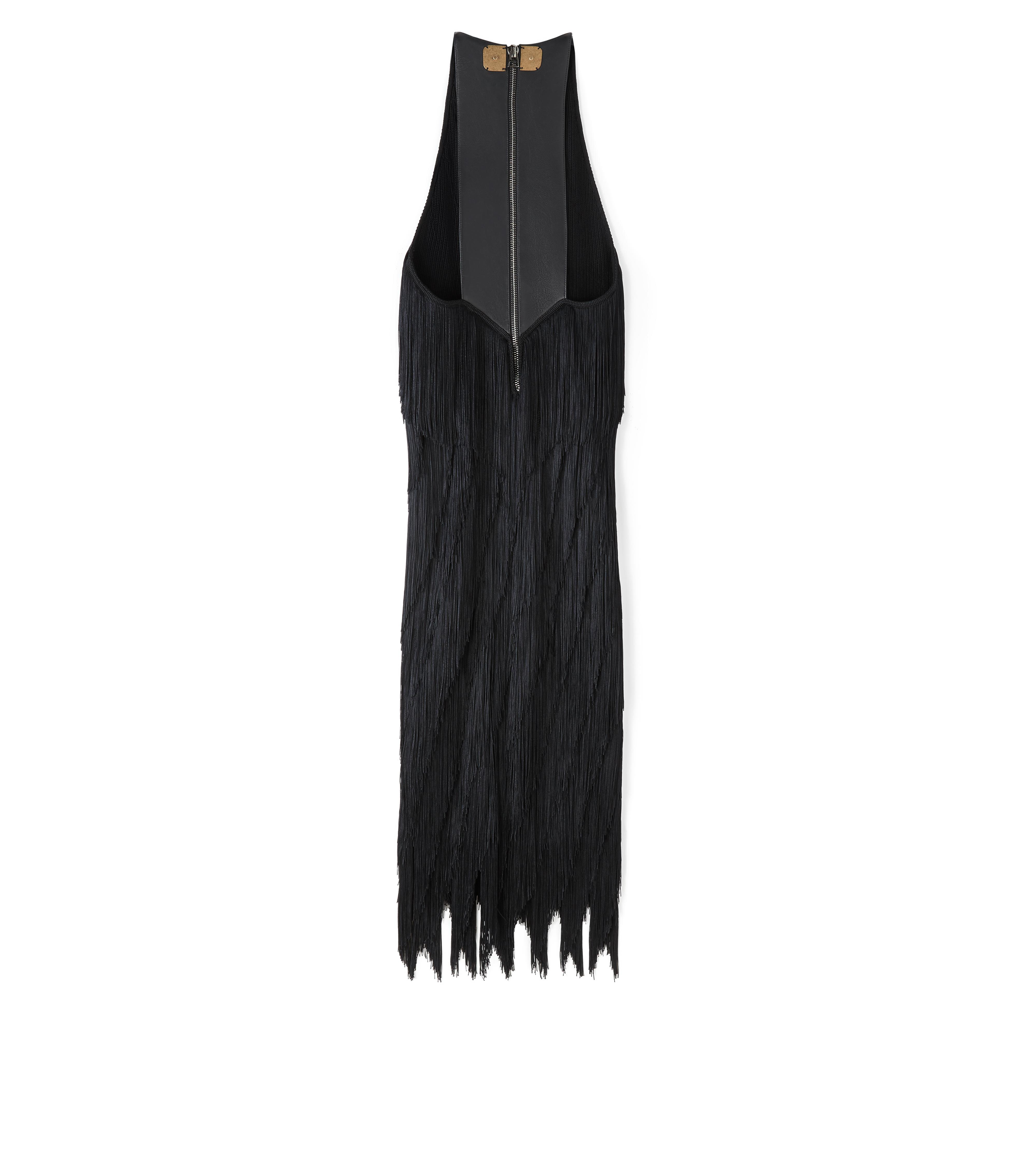 KNEE LENGTH FRINGE TANK DRESS WITH LEATHER DETAIL B thumbnail