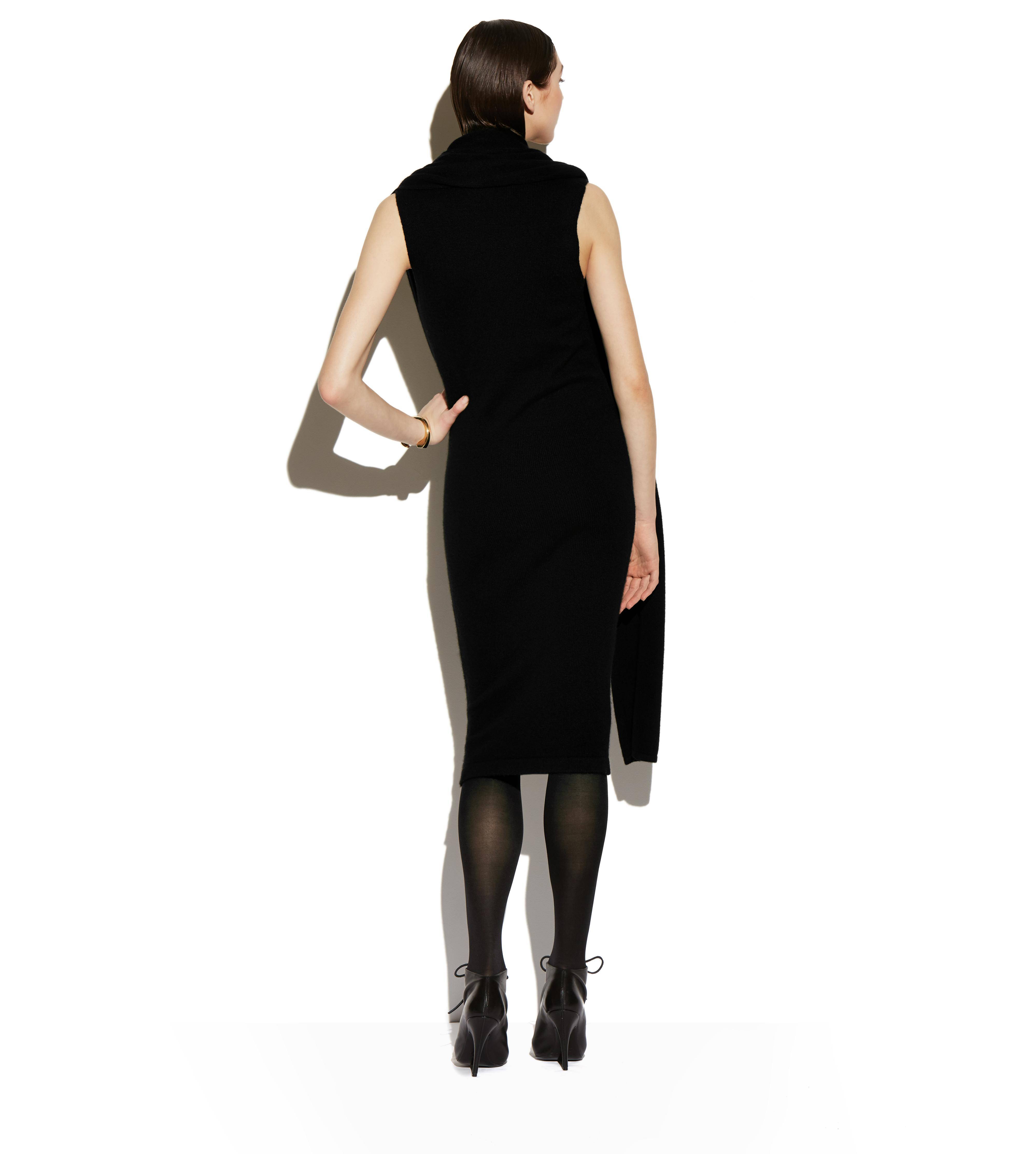 CASHMERE SLEEVELESS WRAP-NECK DRESS C thumbnail