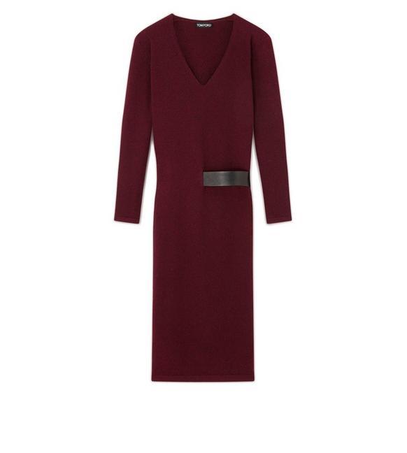 CASHMERE BELTED V-NECK DRESS A fullsize