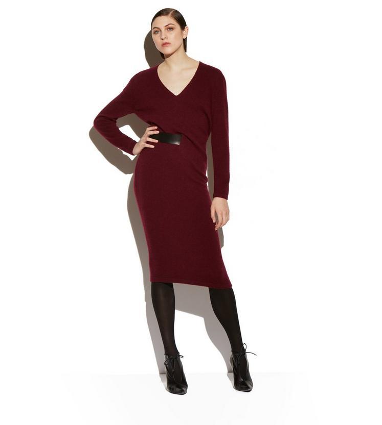 CASHMERE BELTED V-NECK DRESS B fullsize
