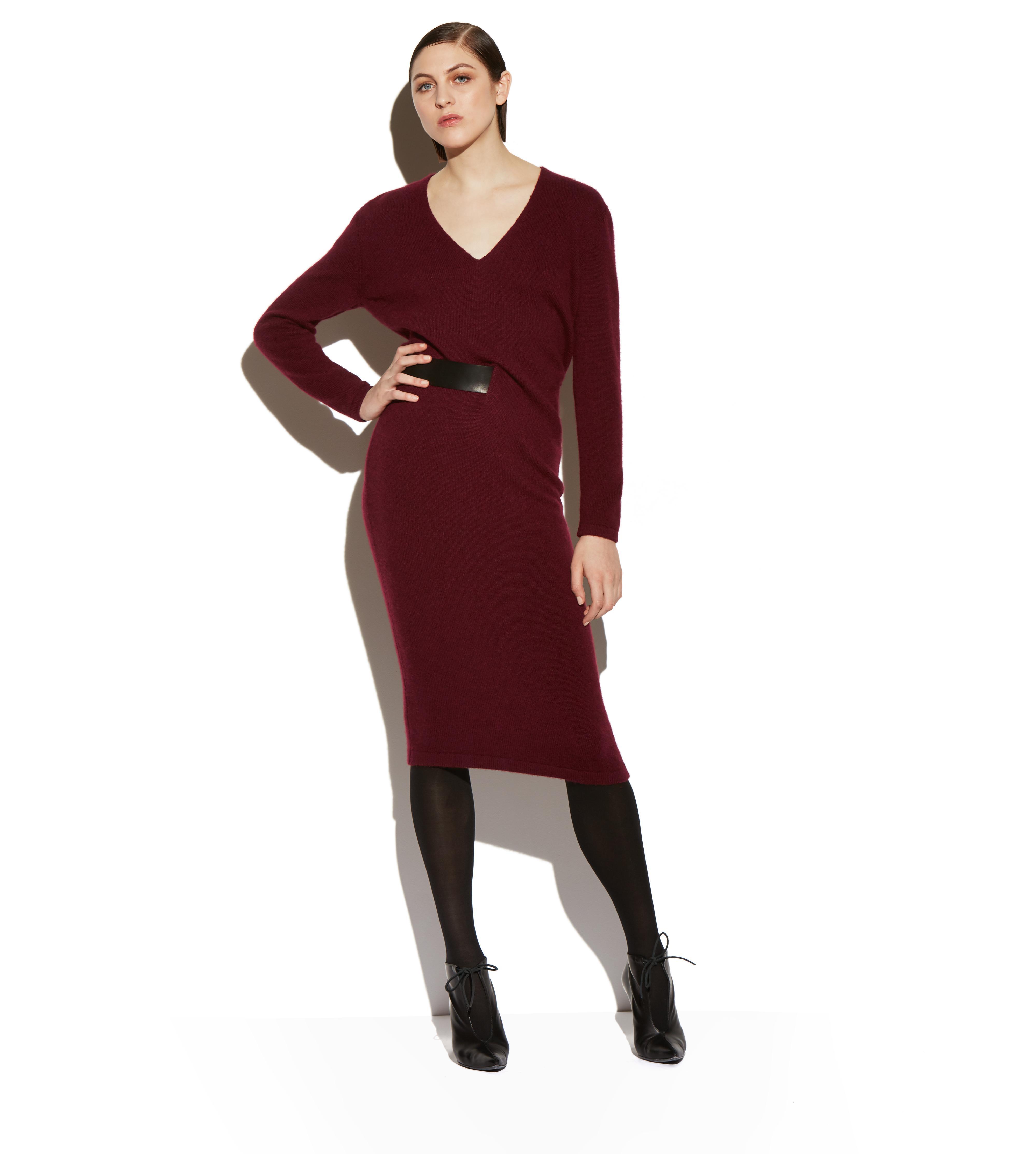 CASHMERE BELTED V-NECK DRESS B thumbnail
