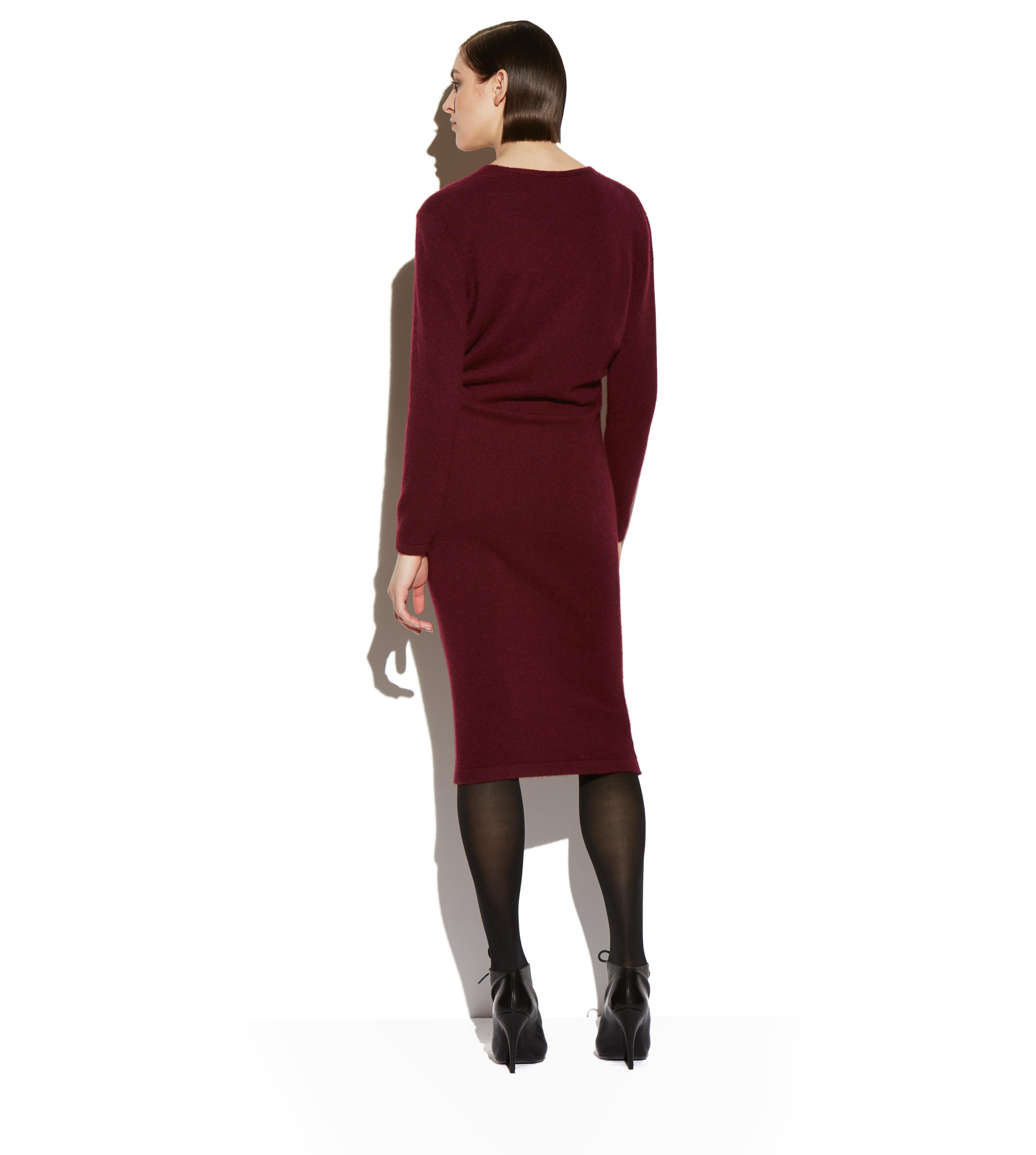 CASHMERE BELTED V-NECK DRESS C thumbnail