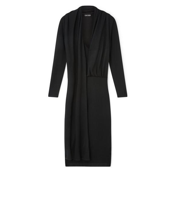 CASHMERE SILK LONG SLEEVE WRAP-NECK DRESS A fullsize