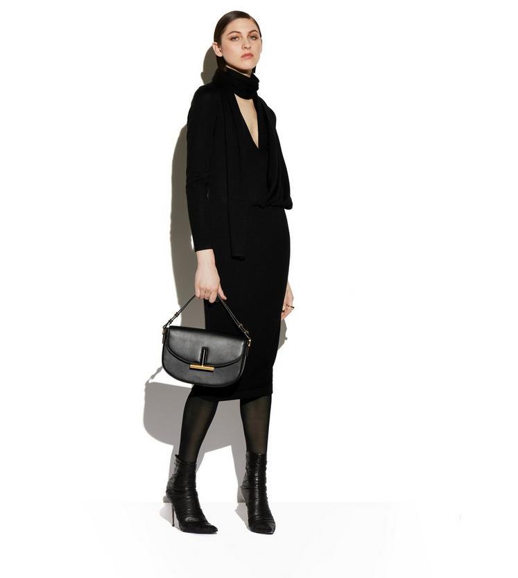 CASHMERE SILK LONG SLEEVE WRAP-NECK DRESS B fullsize