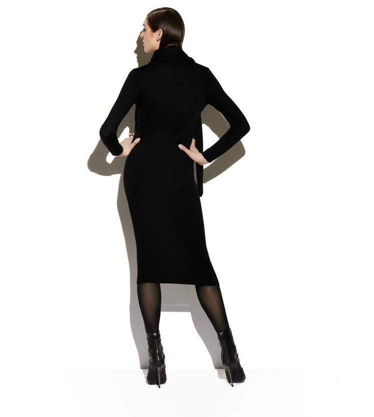CASHMERE SILK LONG SLEEVE WRAP-NECK DRESS C fullsize