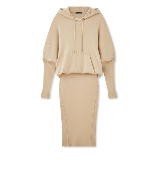STRETCH CASHMERE RIB HOODED DRESS