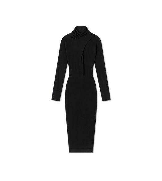 FINE CASHMERE SILK CROSS-NECK DRESS