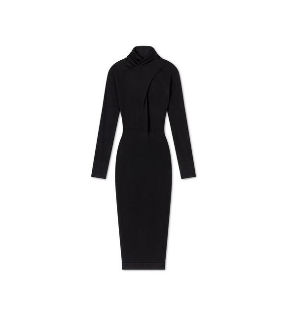 FINE CASHMERE SILK CROSS-NECK DRESS A fullsize