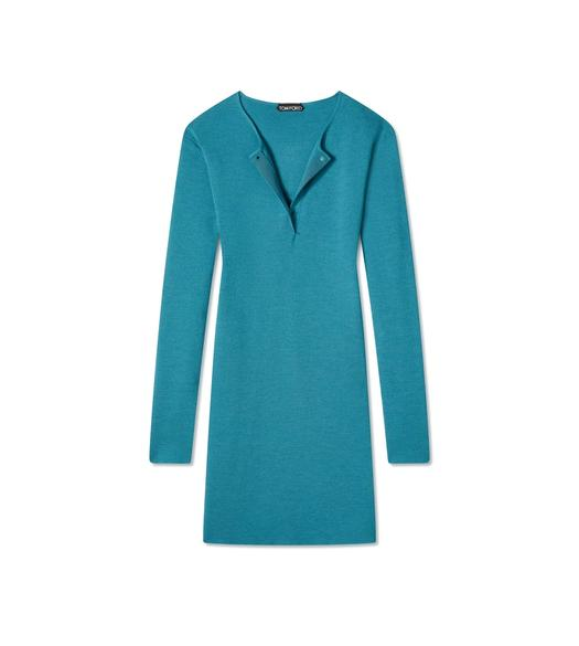 FINE CASHMERE SILK OPEN CREWNECK MINI DRESS