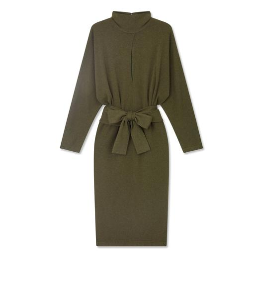 SOFT CASHMERE BELTED DRESS