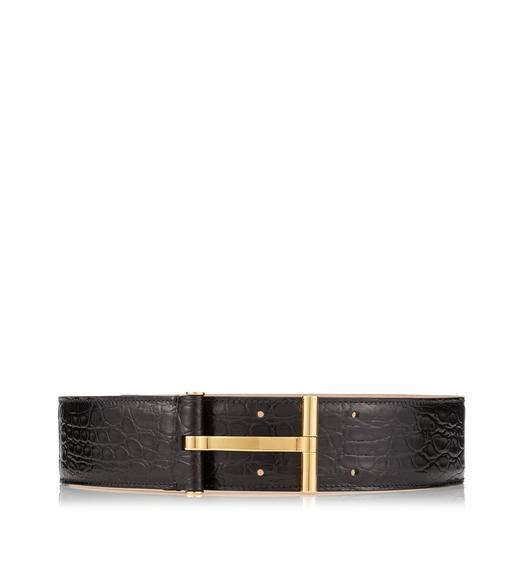 SHINY CROCODILE T CLASP WAIST BELT