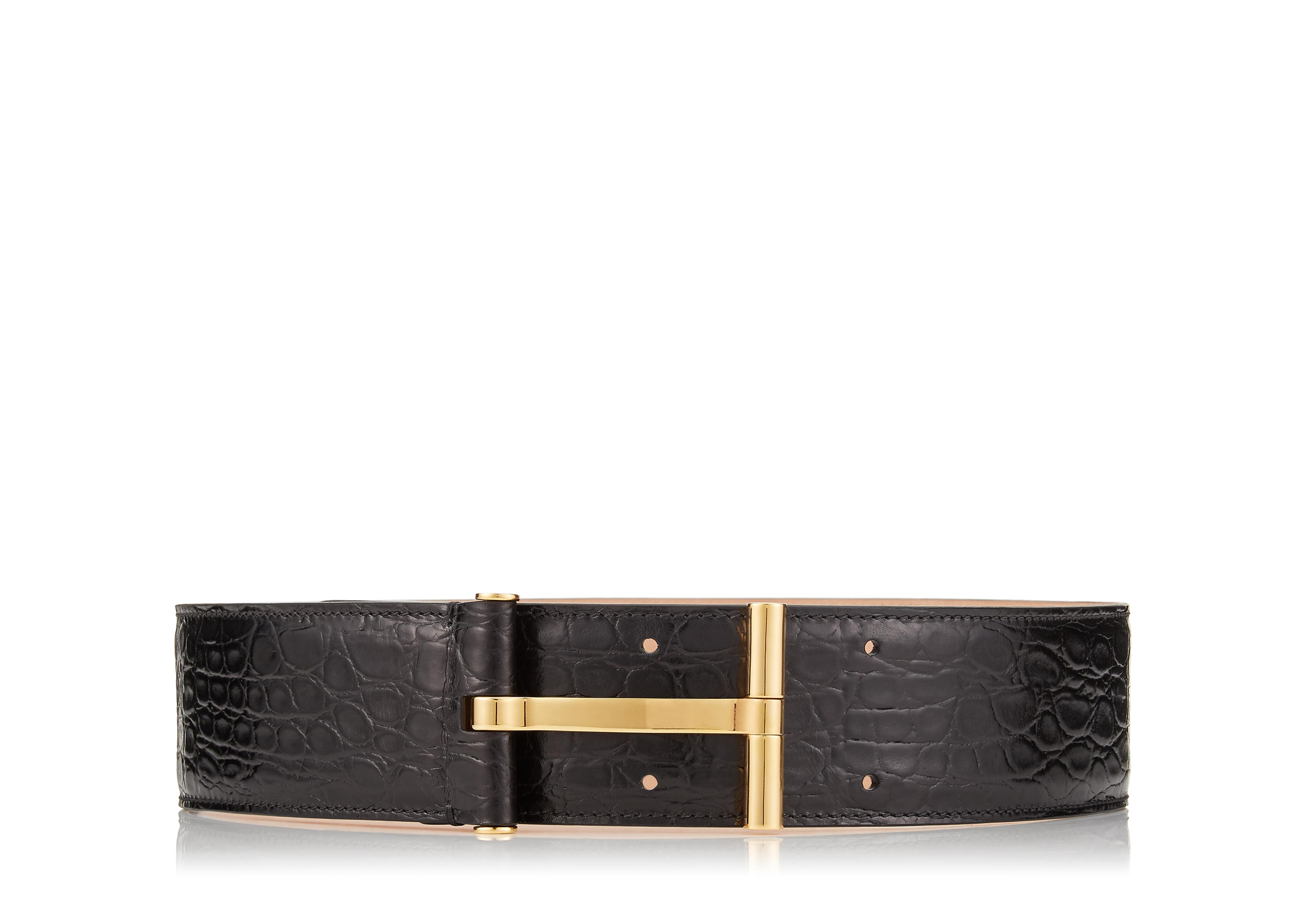 SHINY CROCODILE T CLASP WAIST BELT A thumbnail