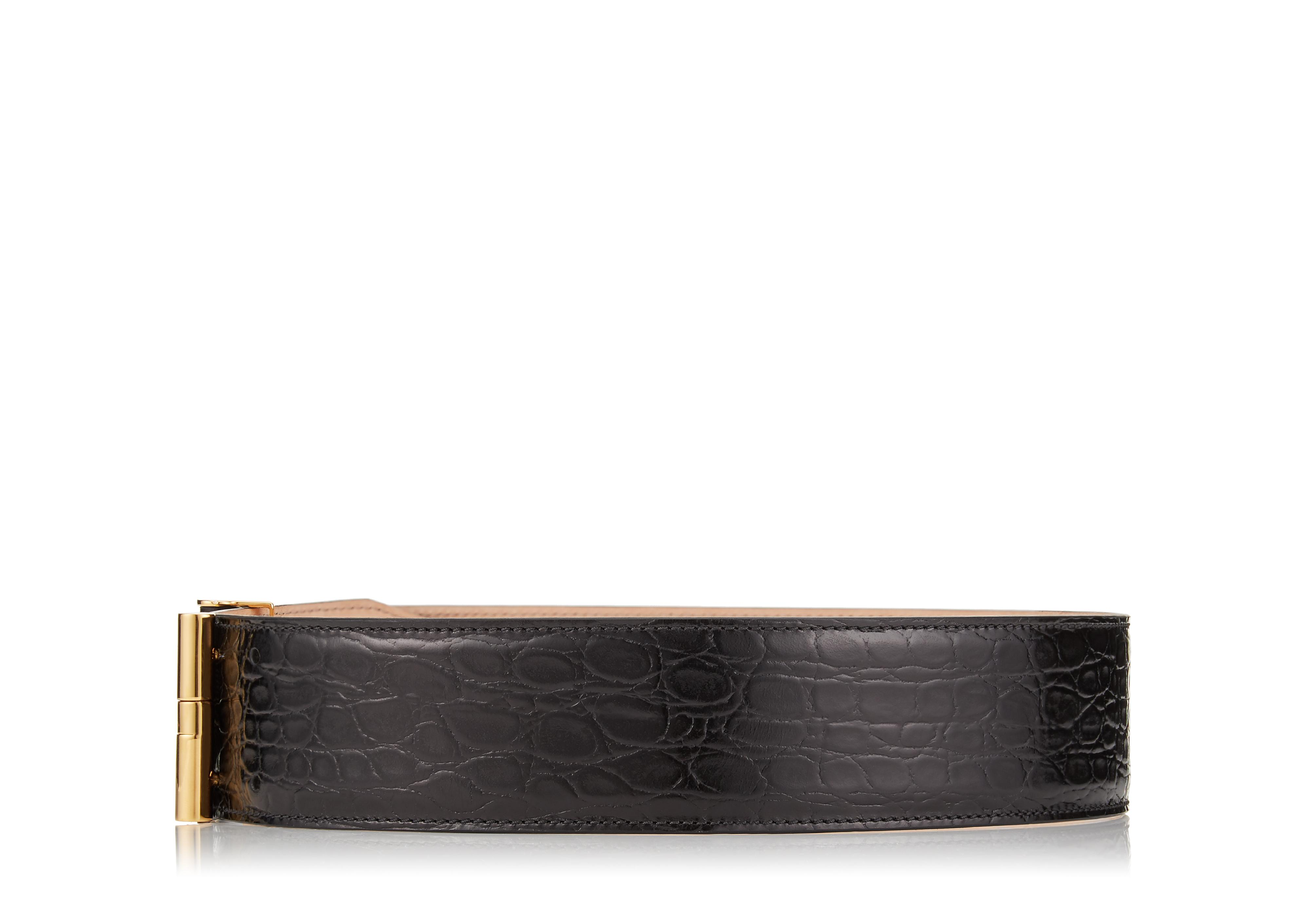SHINY CROCODILE T CLASP WAIST BELT B thumbnail