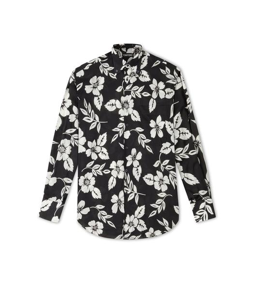 GRAPHIC FLORAL ON LIGHT BATISTA SHIRT