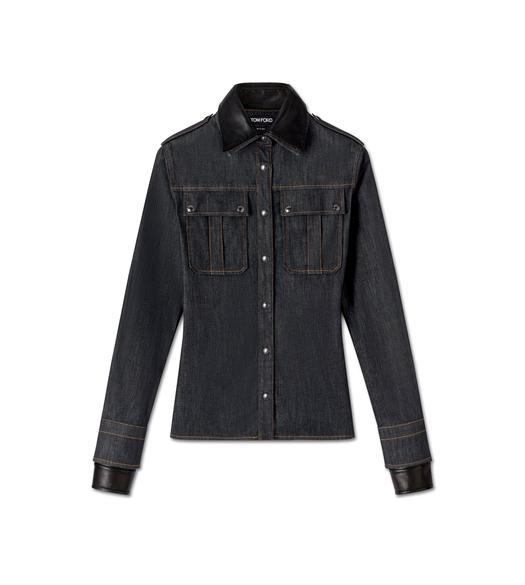 DENIM AND LEATHER MILITARY SHIRT