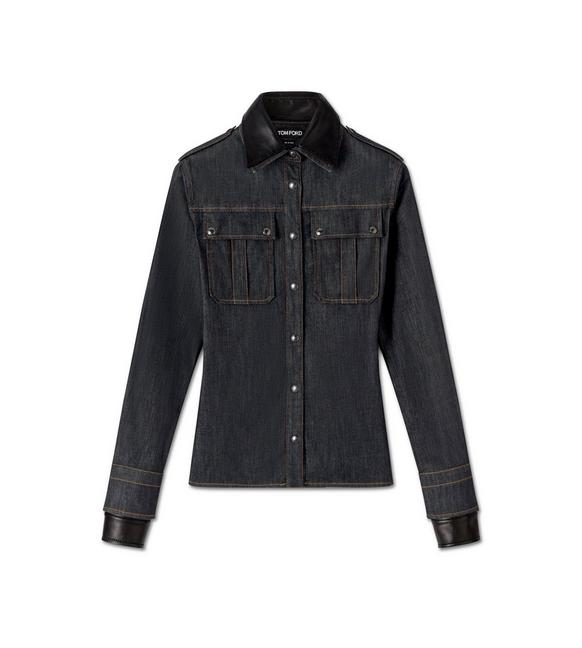 DENIM AND LEATHER MILITARY SHIRT A fullsize