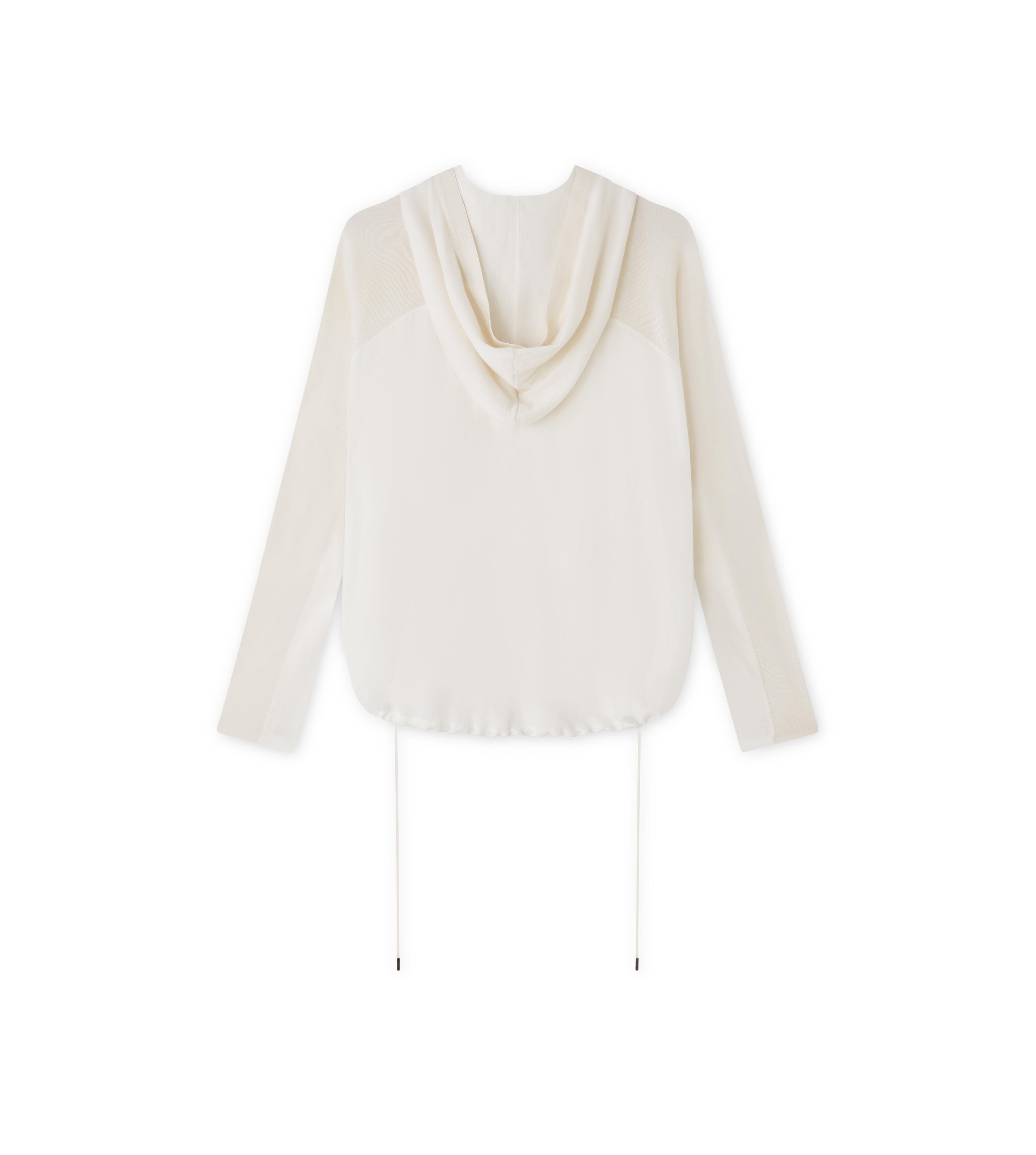 FINE CASHMERE SILK ZIP-FRONT CARDIGAN WITH HOOD B thumbnail