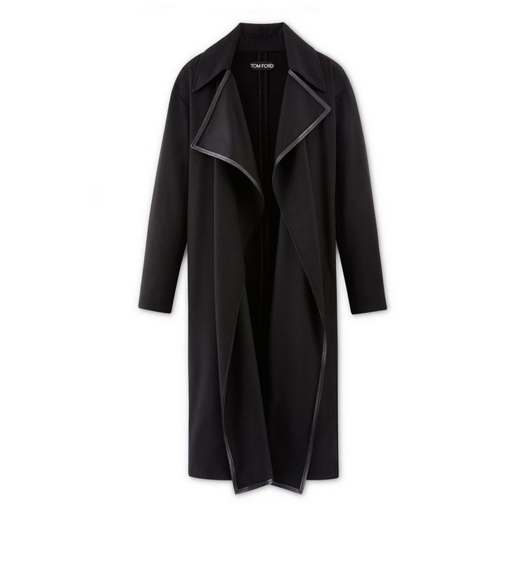 CASHMERE DRAPE LONG COAT WITH LEATHER TRIM A fullsize