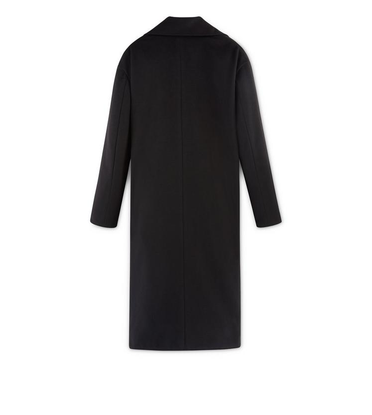 CASHMERE DRAPE LONG COAT WITH LEATHER TRIM B fullsize