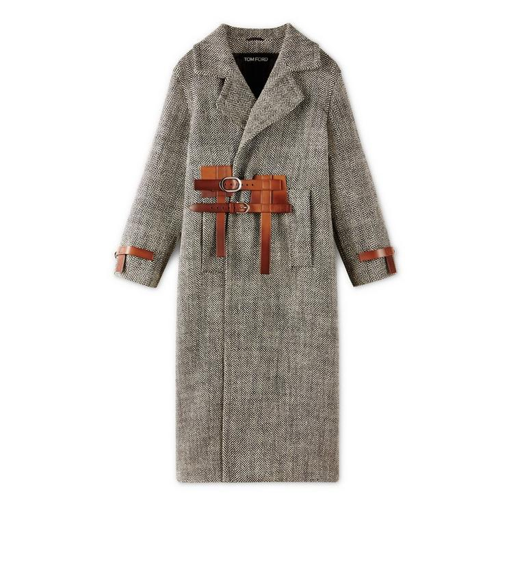 LONG COAT WITH REMOVABLE LEATHER BELT A fullsize