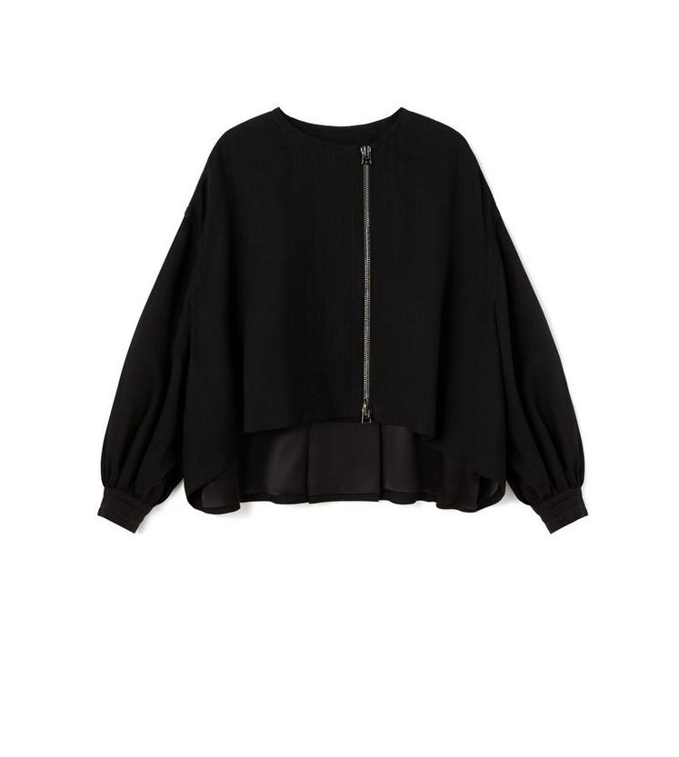 CROPPED OVERSIZED SHORT COAT WITH DROPPED SHOULDERS A fullsize