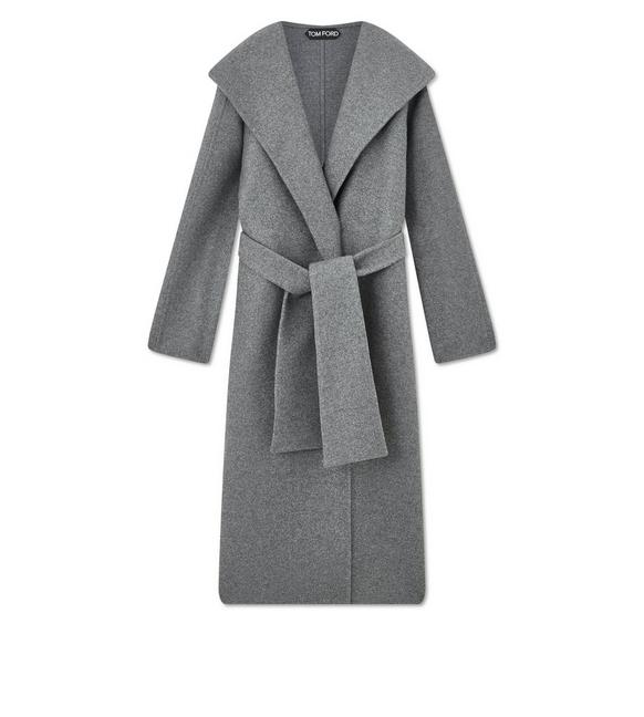 DOUBLE CASHMERE HOODED COAT A fullsize