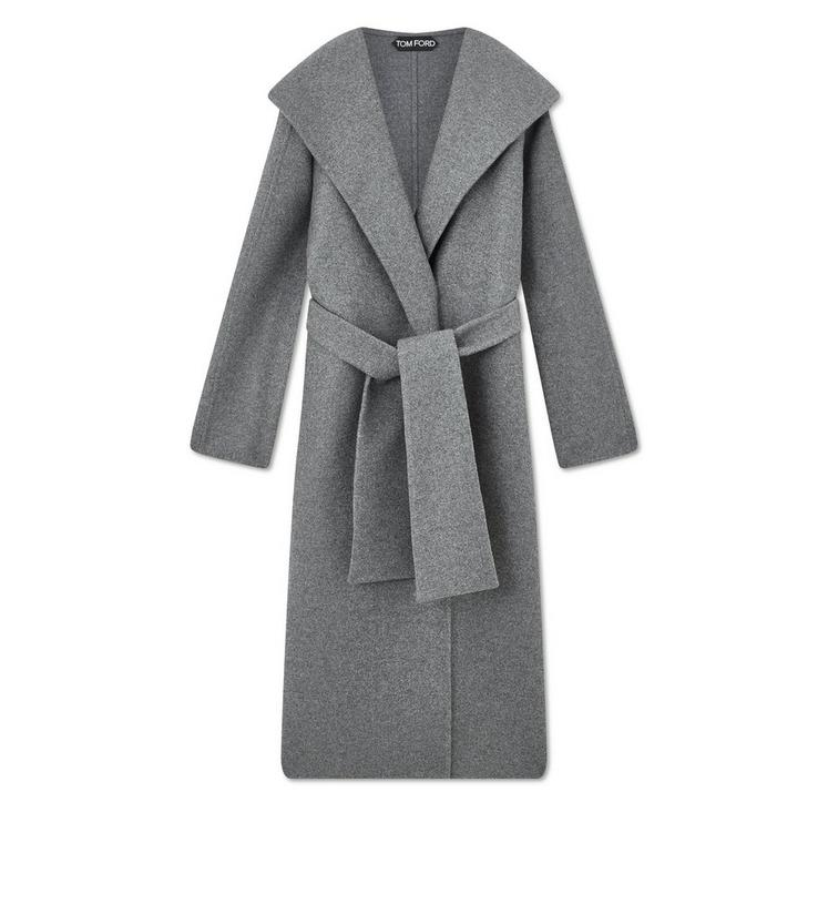 DOUBLE CASHMERE HOODED COAT