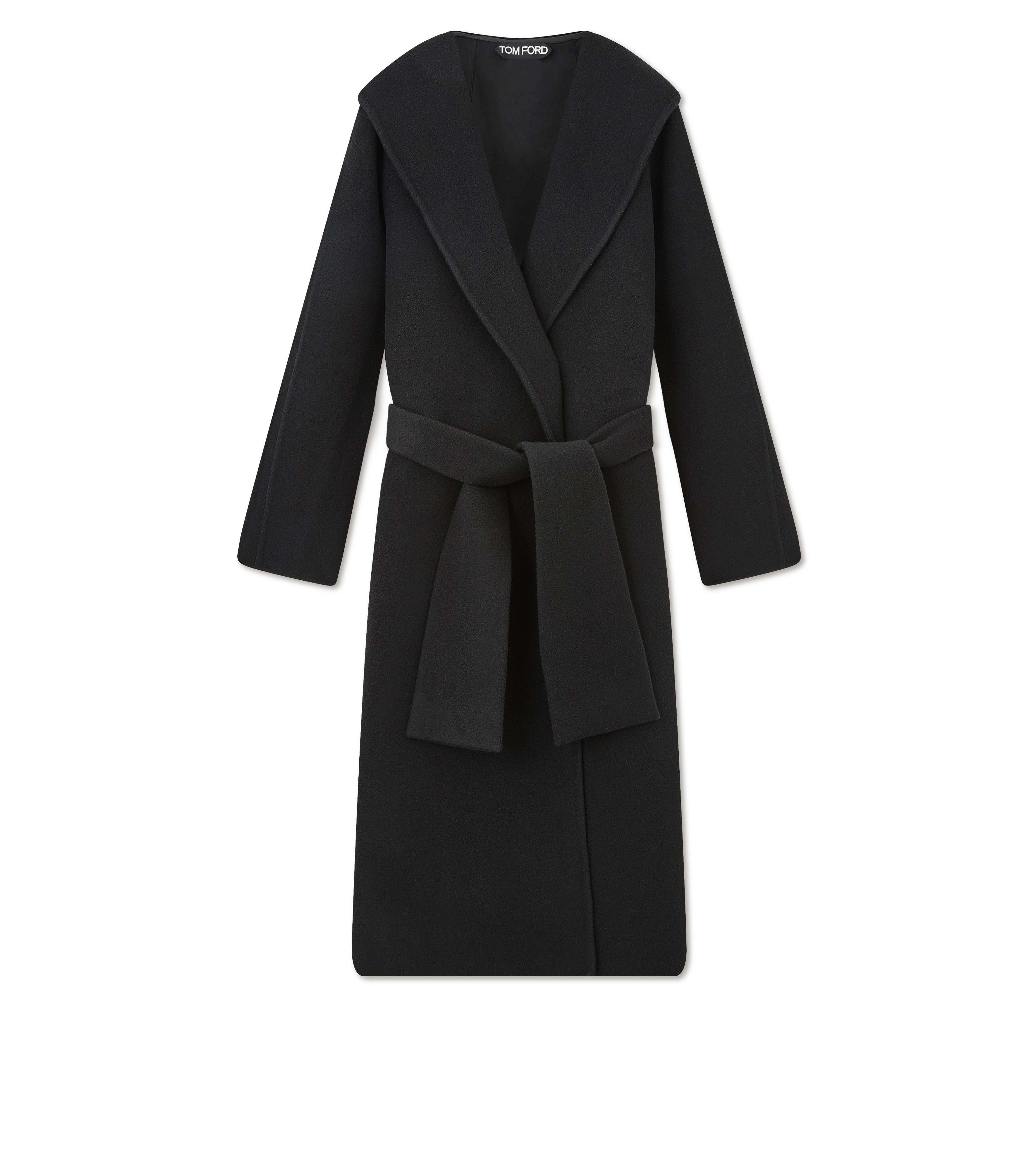 DOUBLE CASHMERE HOODED COAT A thumbnail