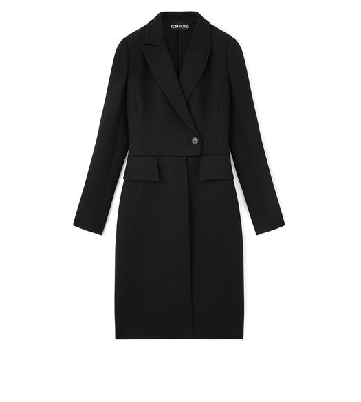 FITTED DOUBLE BREASTED LONG WOOL COAT