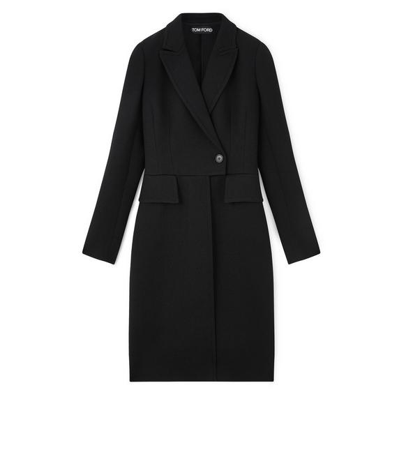 FITTED DOUBLE BREASTED LONG WOOL COAT A fullsize