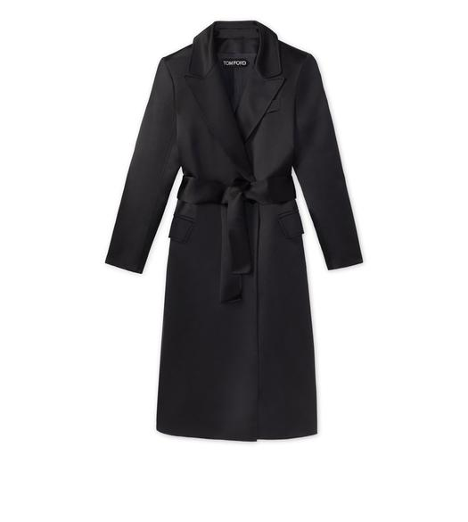 SILK DUCHESSE BELTED EVENING COAT