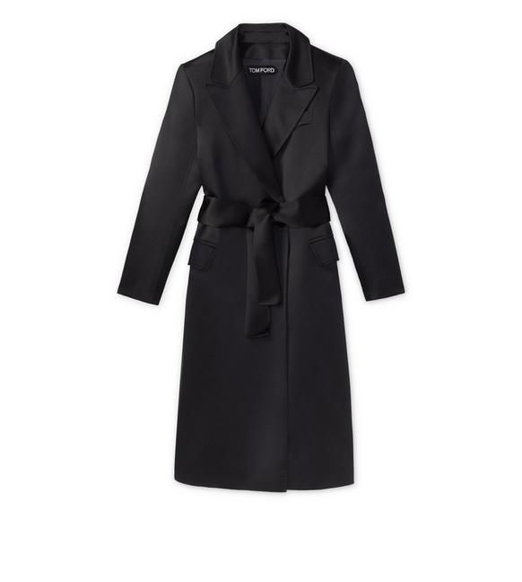 SILK DUCHESSE BELTED EVENING COAT A fullsize