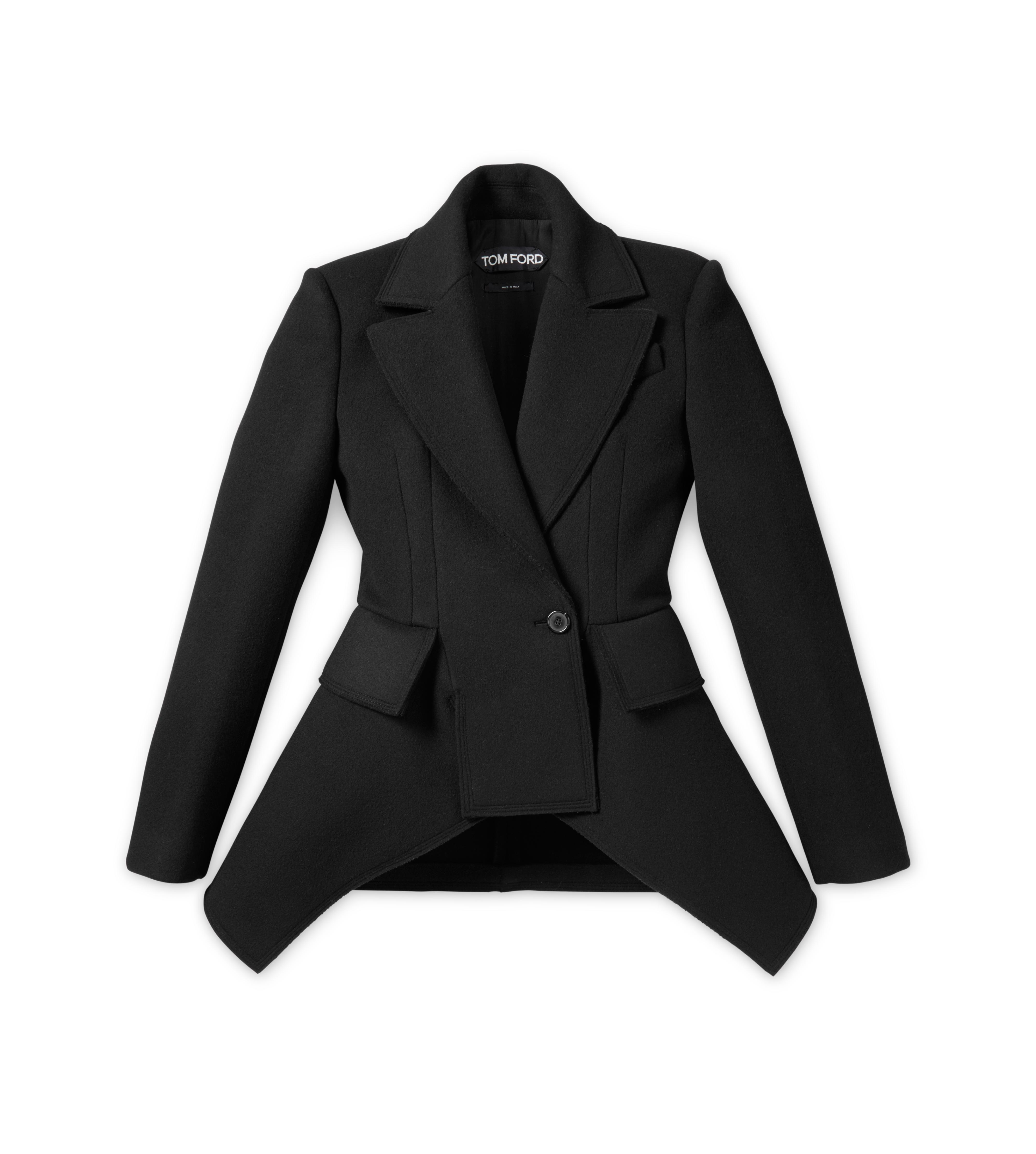 DOUBLE BREASTED WOOL CASHMERE PEPLUM COAT A thumbnail