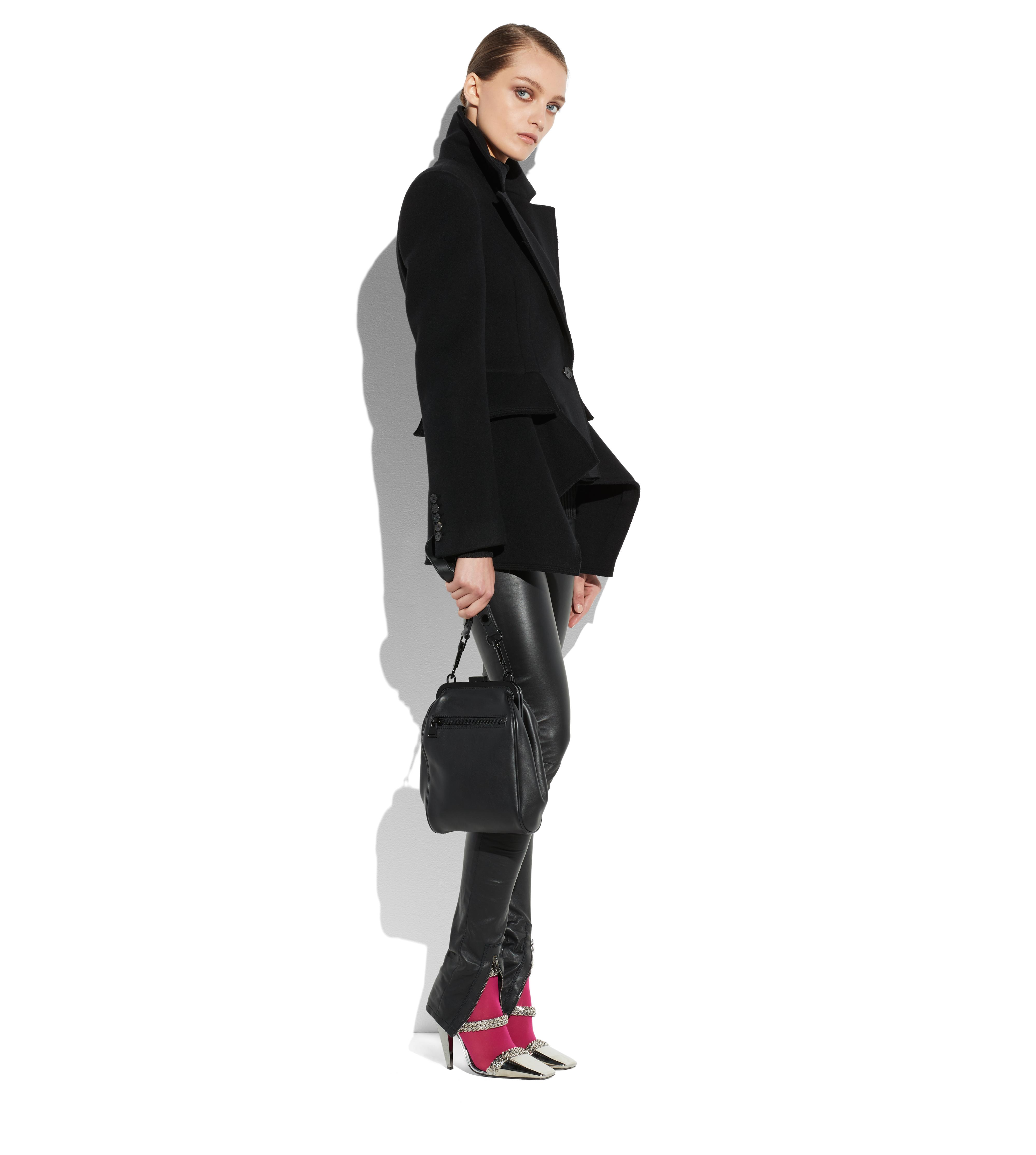 DOUBLE BREASTED WOOL CASHMERE PEPLUM COAT B thumbnail