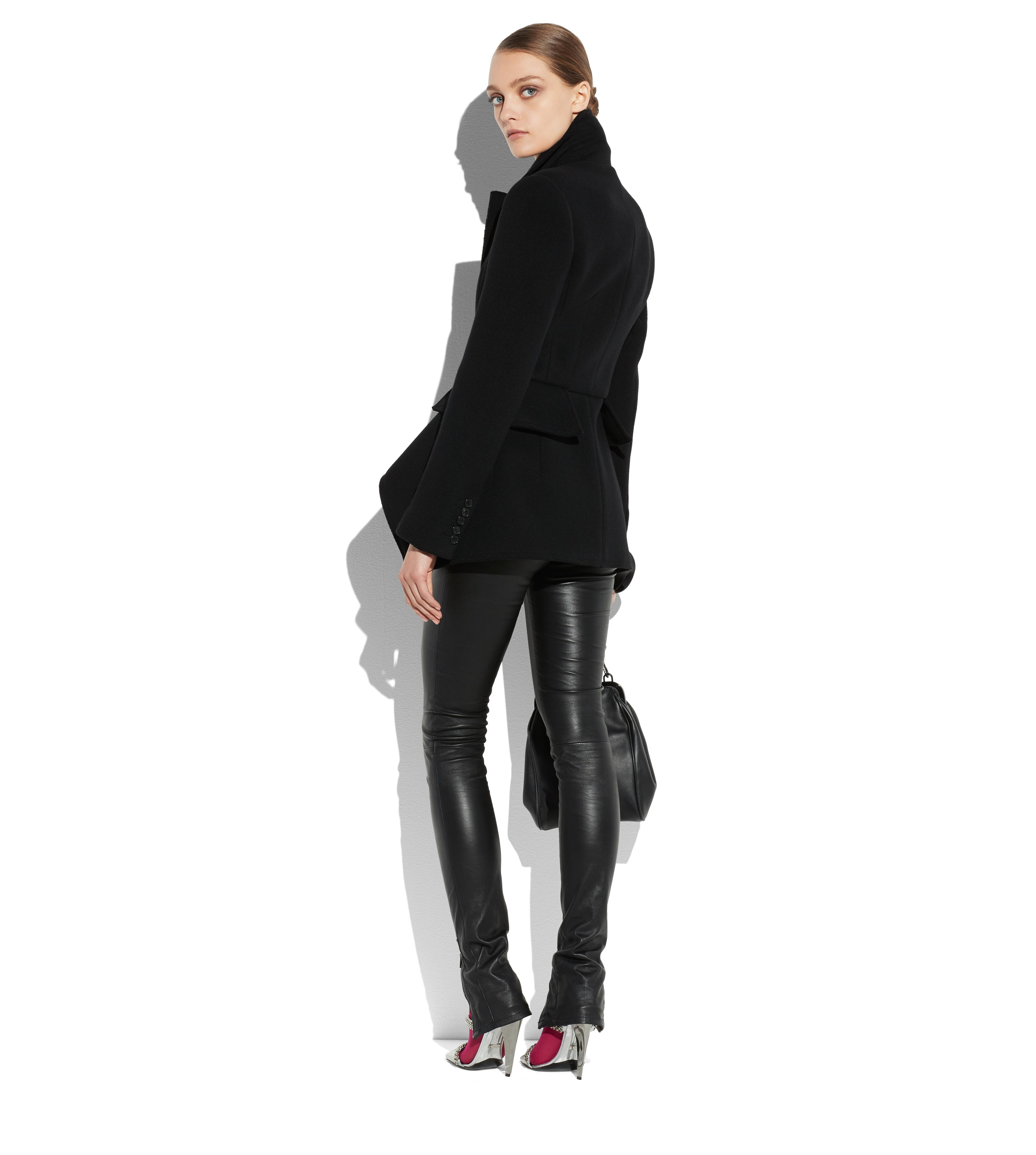 DOUBLE BREASTED WOOL CASHMERE PEPLUM COAT C thumbnail