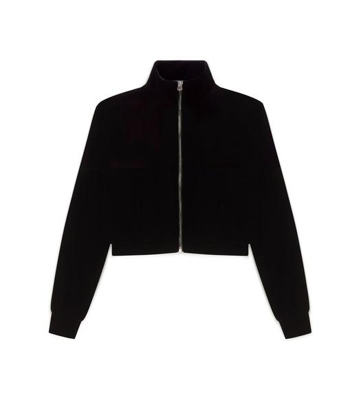 CROPPED VELVET ZIP BOMBER JACKET
