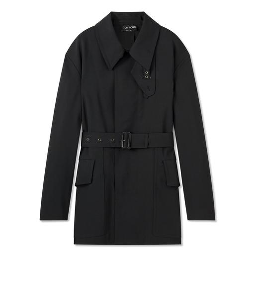 LIGHT BONDED WOOL SHORT TRENCH COAT