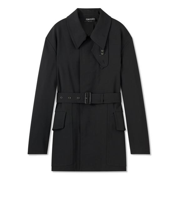 LIGHT BONDED WOOL SHORT TRENCH COAT A fullsize