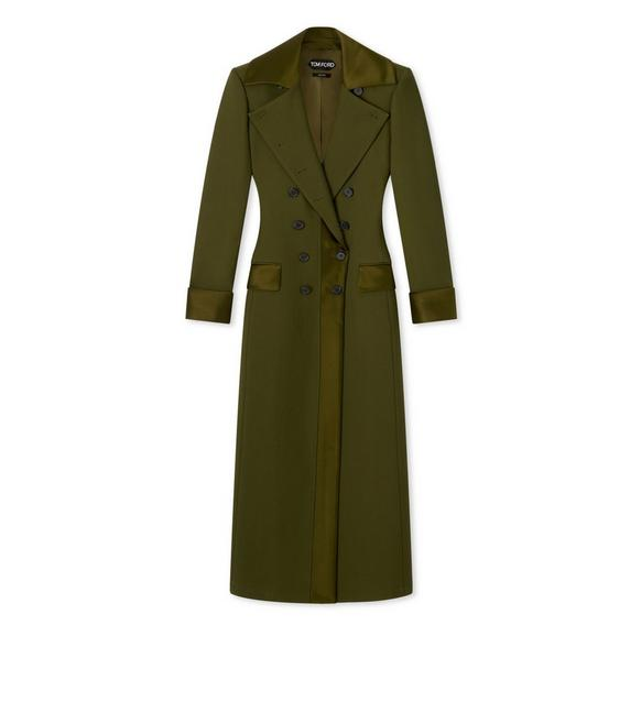 DOUBLE SPLITTABLE TWILL LONG COAT WITH SATIN A fullsize