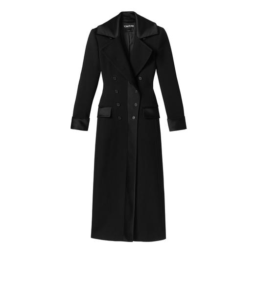 DOUBLE SPLITTABLE TWILL LONG COAT WITH SATIN