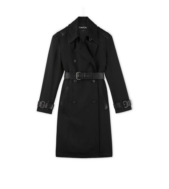 FLUID CANVAS TRENCH COAT WITH LEATHER DETAILS A fullsize