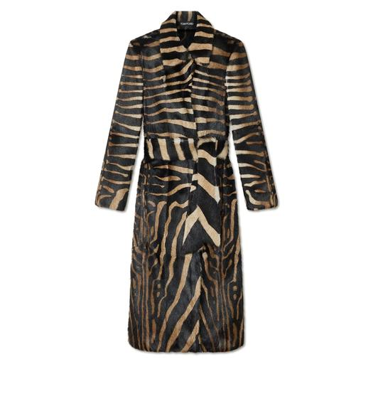 LONG BELTED ZEBRA PRINT FUR COAT